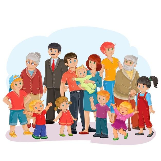 vector big happy family