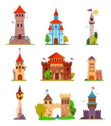 vector fairytale castle castles premium citadels towers gothic medieval fabulous elements stickers fantasy illustrations different cartoon children