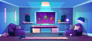 vector illustration background esports stream modern banner gaming neon wall concept streaming backdrop pink freepik 3d lights illustrator backgrounds laptop