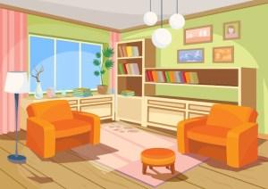 cartoon living vector orange interior illustration armchairs soft freepik