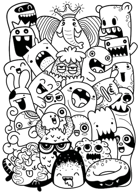Vector illustration of doodle cute monster background