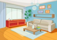 Vector illustration of a cozy cartoon interior of a home ...