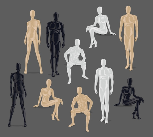 vector isolated mannequins different