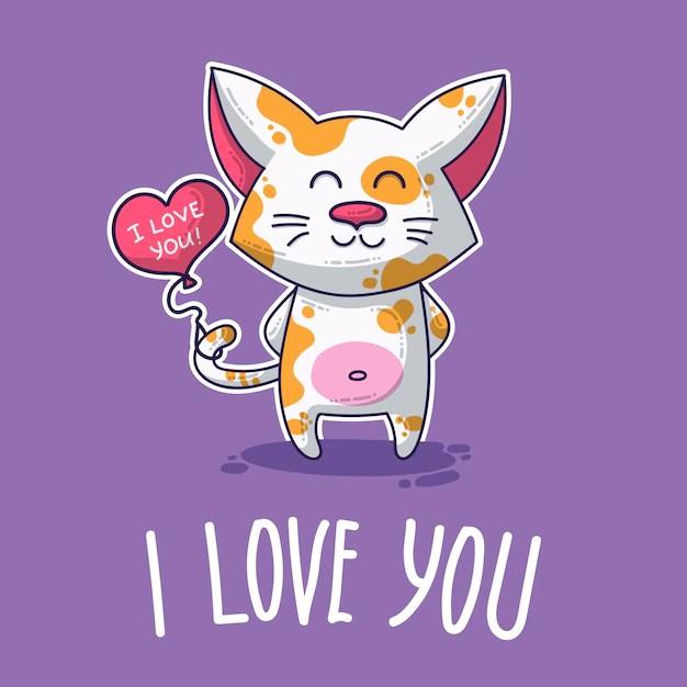 Download Vector postcard about cat in love | Premium Vector