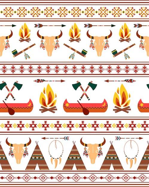 Native American Border Designs : native, american, border, designs, Vector, Seamless, Tribal, Native, American, Indian, Borders, Clothing, Design