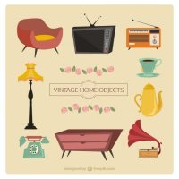 Vintage cartoon furniture Vector | Free Download