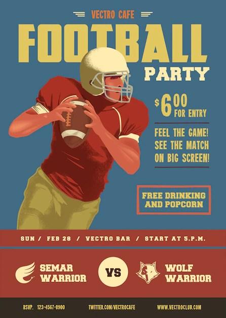 Vintage Football Flyer Poster Template Vector | Premium Download