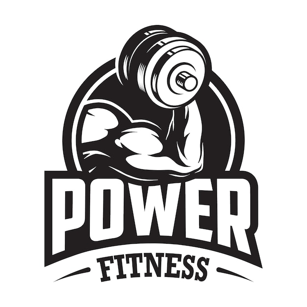 Vintage monochrome sport and fitness logo with muscular