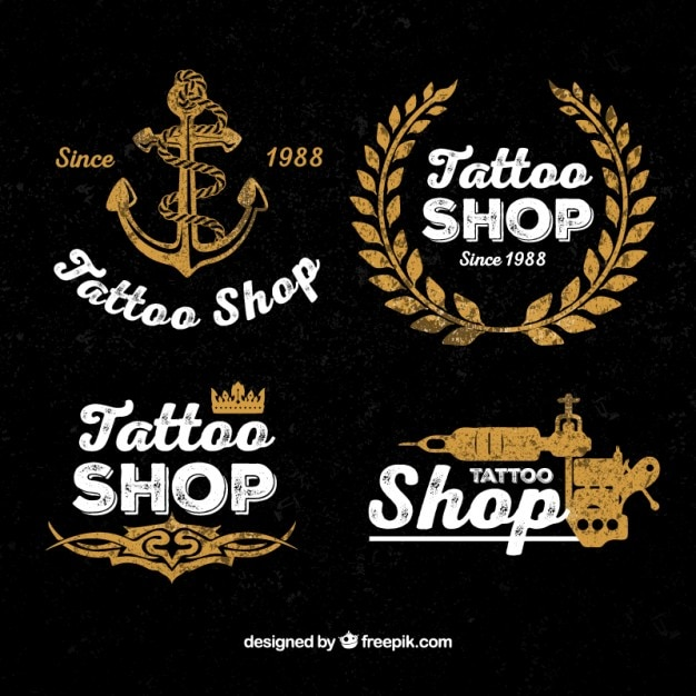 Vintage tattoo shop logos Vector