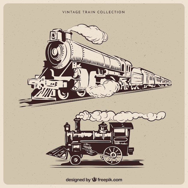 Steam White Trains And Black Drawings