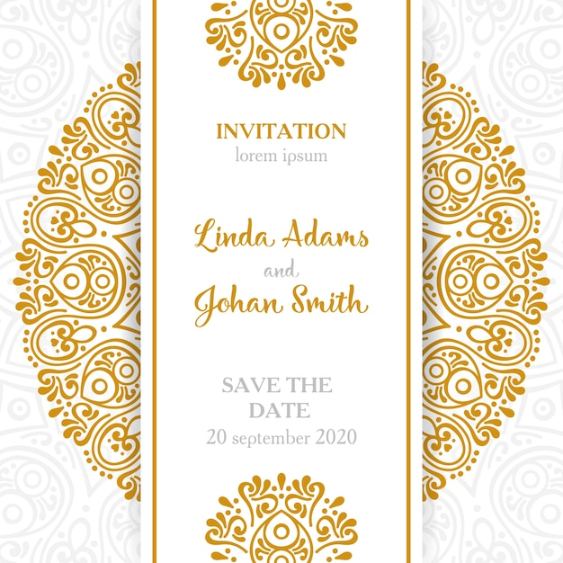 Vine Wedding Invitation With Mandala