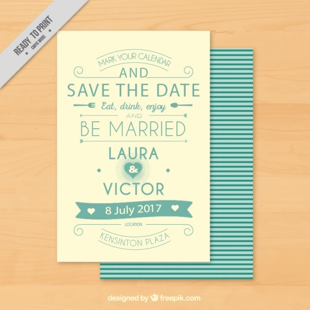 Vine Wedding Invitation With Typography Free Vector