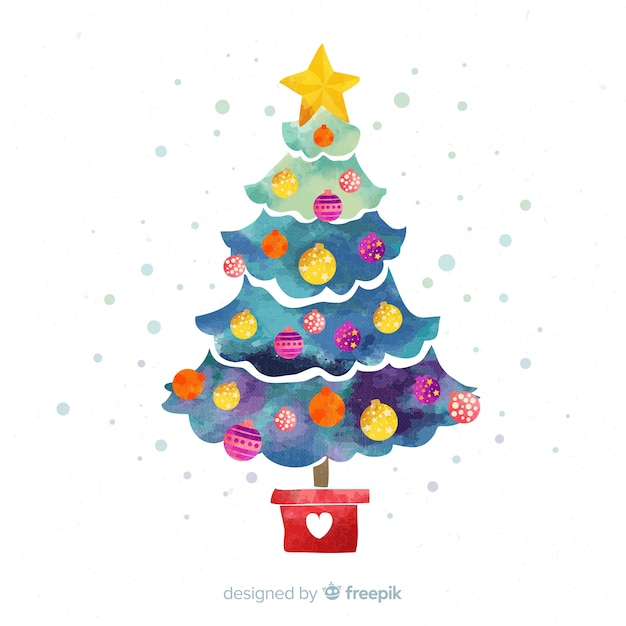 Watercolor christmas tree background Free Vector