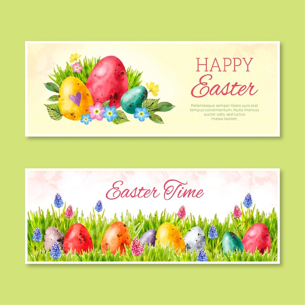 Watercolor easter banner Free Vector