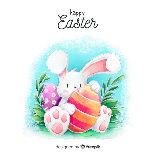 Watercolor easter background Free Vector
