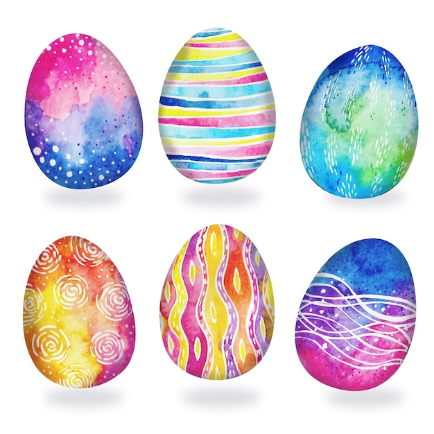 Watercolor easter egg collection Free Vector