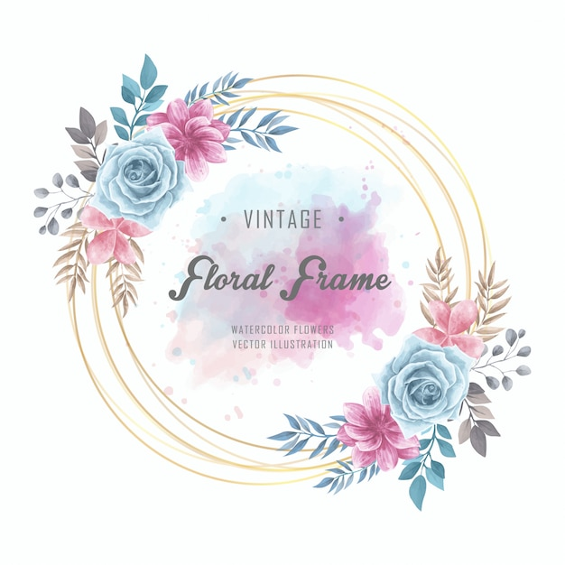 watercolor floral flowers circle