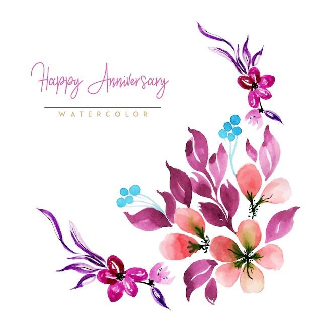 watercolor floral happy anniversary