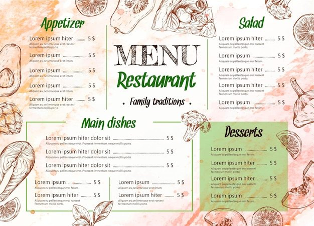 Watercolor restaurant menu template Free Vector - Brown and Orange Warm Watercolor Background Illustration Theme