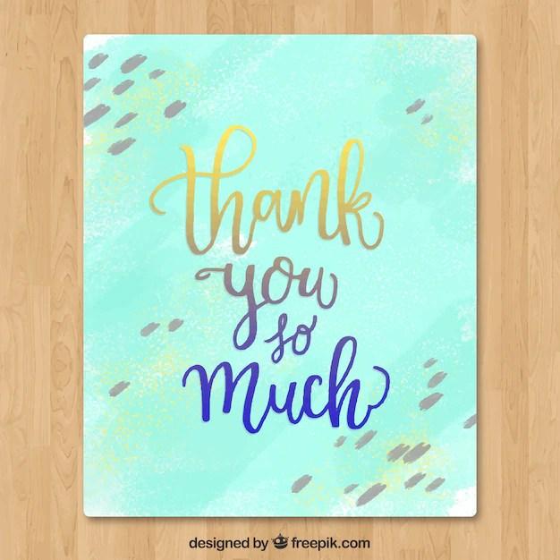 Watercolor thank you card Vector