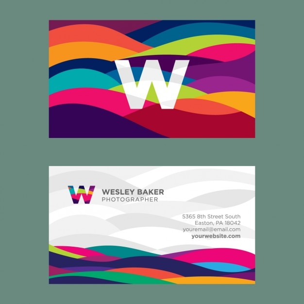 Wavy colored business card Free Vector