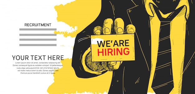 Premium Vector | We are hiring poster concept design illustration