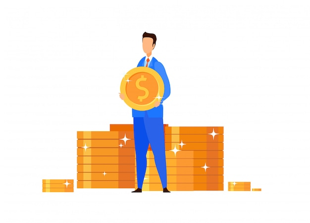 Wealthy businessman, banker vector illustration | Premium Vector