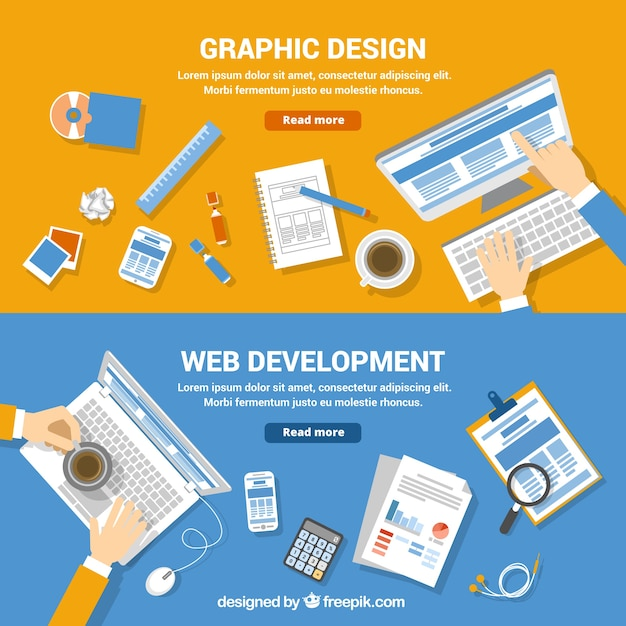 Web development and graphic design banners Vector  Free Download