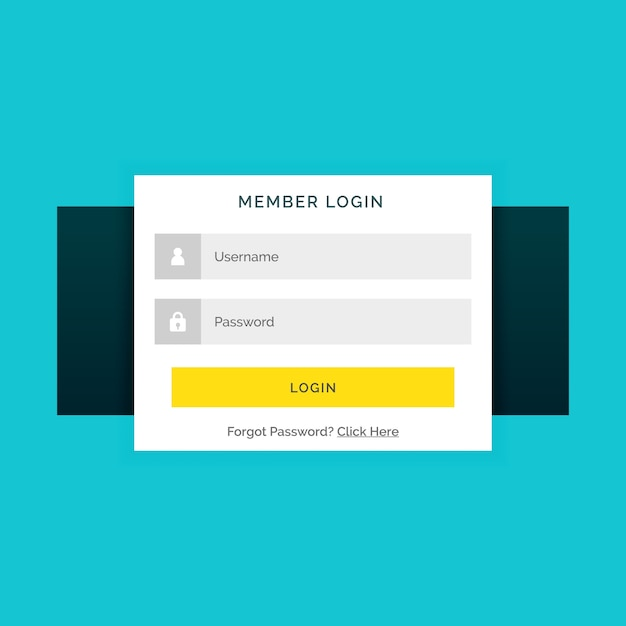 Web login template with yellow buttonc Vector | Free Download
