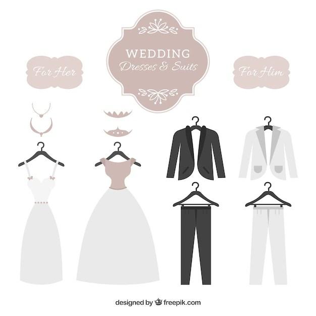 Wedding dresses & suits set Vector