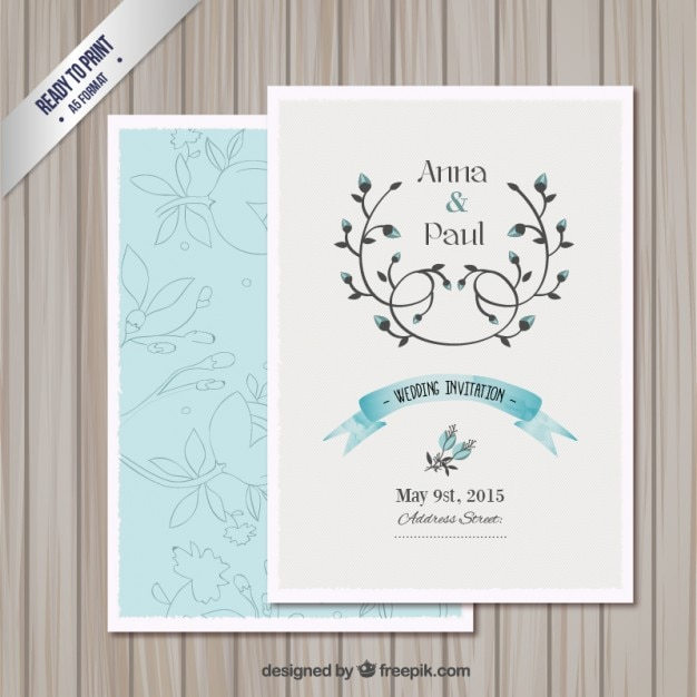 Wedding Invitation Card Template Free Vector