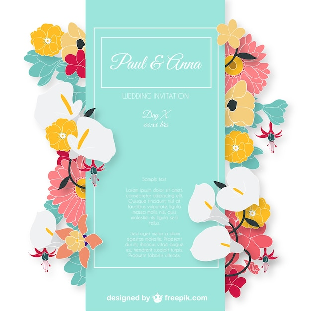 Wedding Invitation Card With Colorful Flowers Free Vector