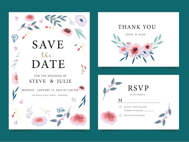 Wedding Invitation Cards Thank You Card Stationery Premium Vector