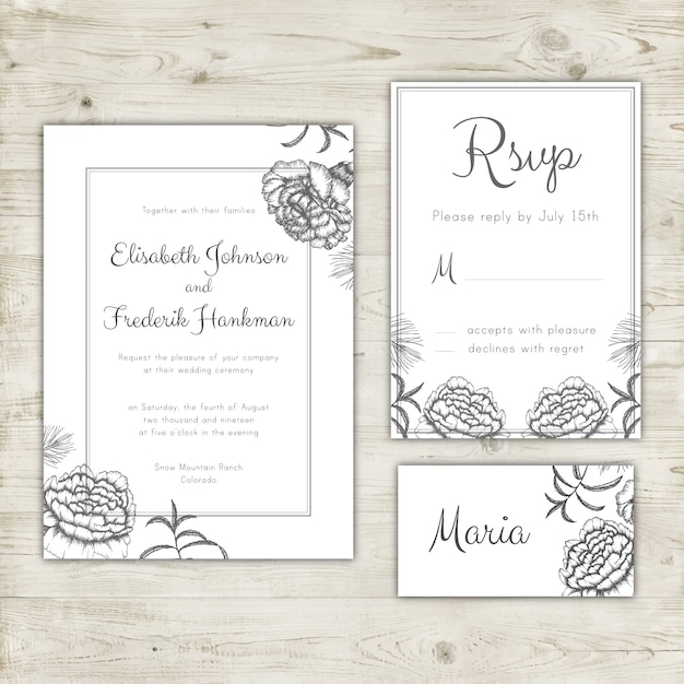 Wedding Invitation Rsvp Card And Place Design Free Vector