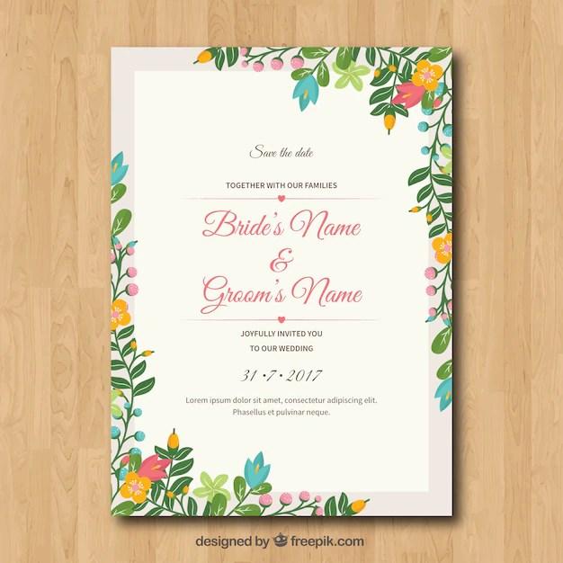 Wedding Invitation With Fl Frame
