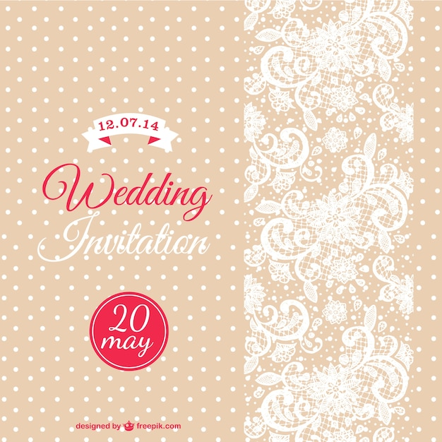 Wedding Invitation With White Dots And Flowers Free Vector