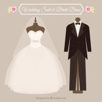 Wedding suit and dress Vector | Free Download