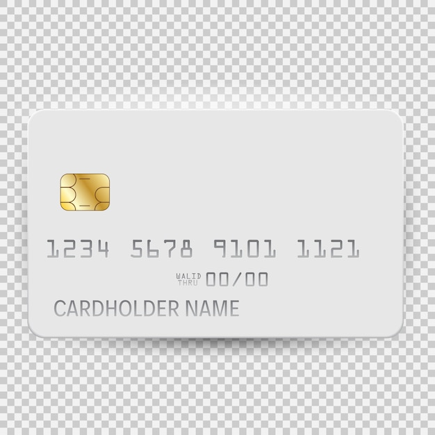 White blank bank card template top view with shadow