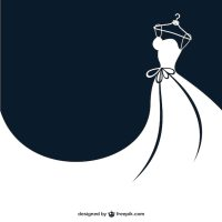 White bride dress Vector