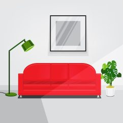 Red Sofa White Living Room Mustard And Grey Wallpaper Walls Interior With Vector Free Download