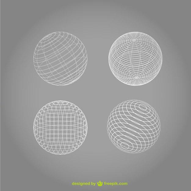 white wireframe spheres vector