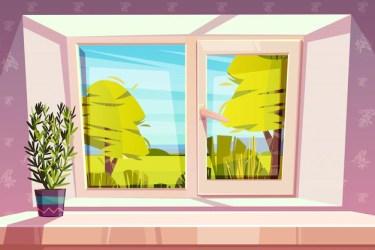 window windowsill vector plant cartoon sunny outside illustration park glass closed pot windows overlooking meadow frame plastic background 1st monday