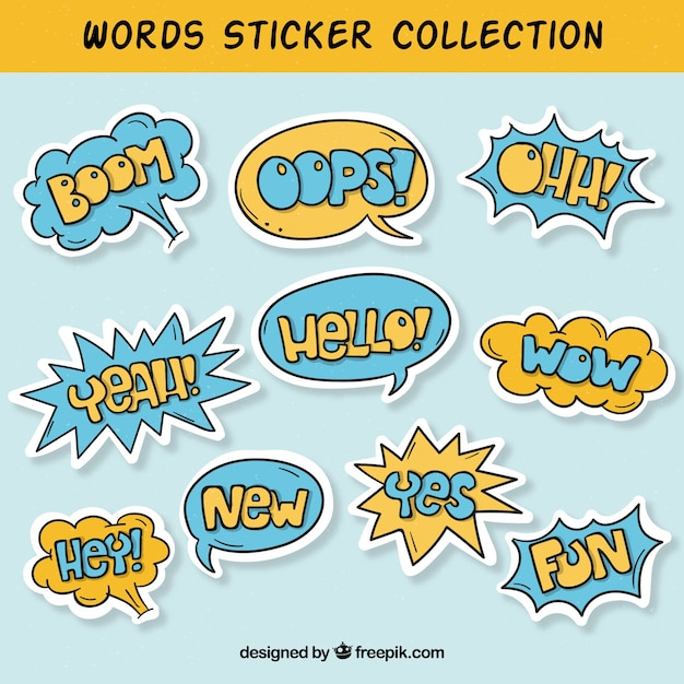 word sticker collection vector