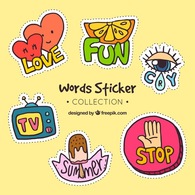 words stickers colection vector