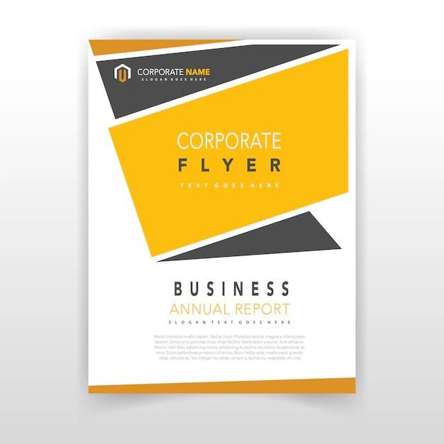 Yellow Coporate Flyer Design Vector Free Download