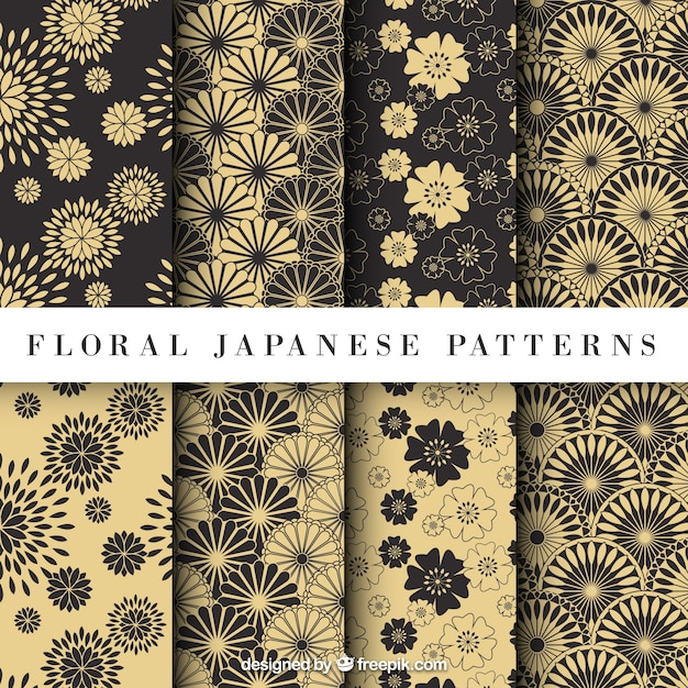 Yellow Floral Japanese Pattern Vector Free Download