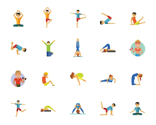 Yoga, Fitness And Health Icon Set Vector