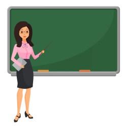Premium Vector Young female teacher near blackboard teaching student in classroom at school college or university flat design cartoon woman character