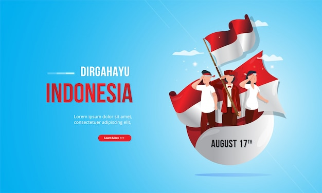 Premium Vector Youth Patriotic Illustration With Red And White Flag For Indonesia Independence Day Concept