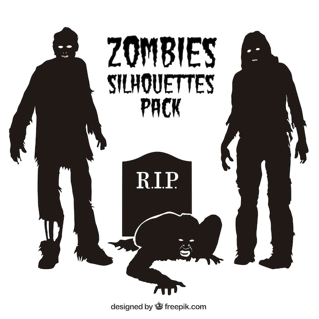 zombie silhouettes pack vector